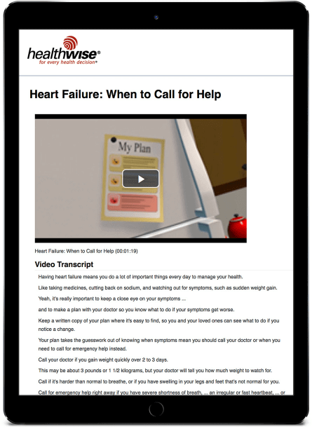 Mobile device with Heart Failure information