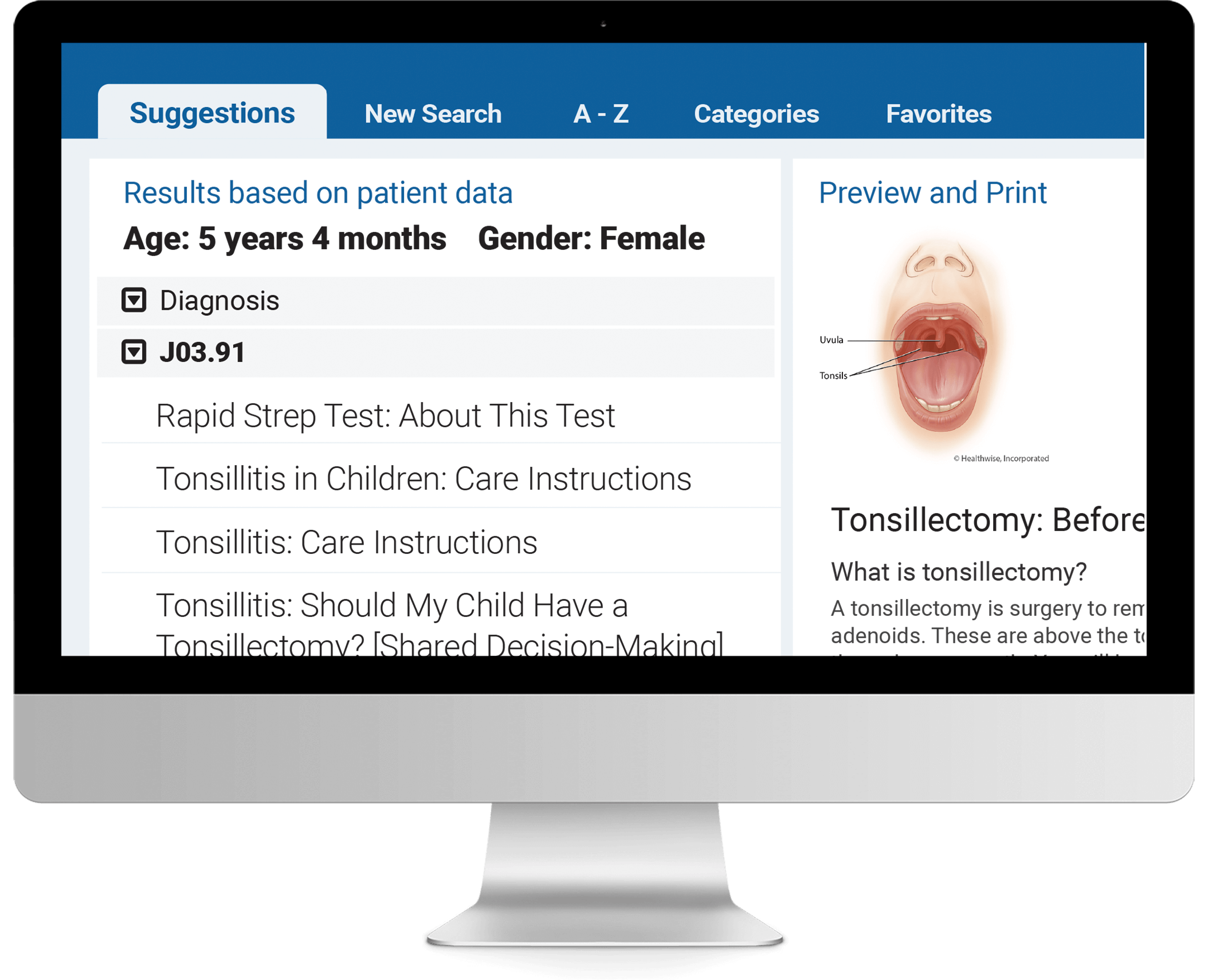 Patient Instructions search on tablet