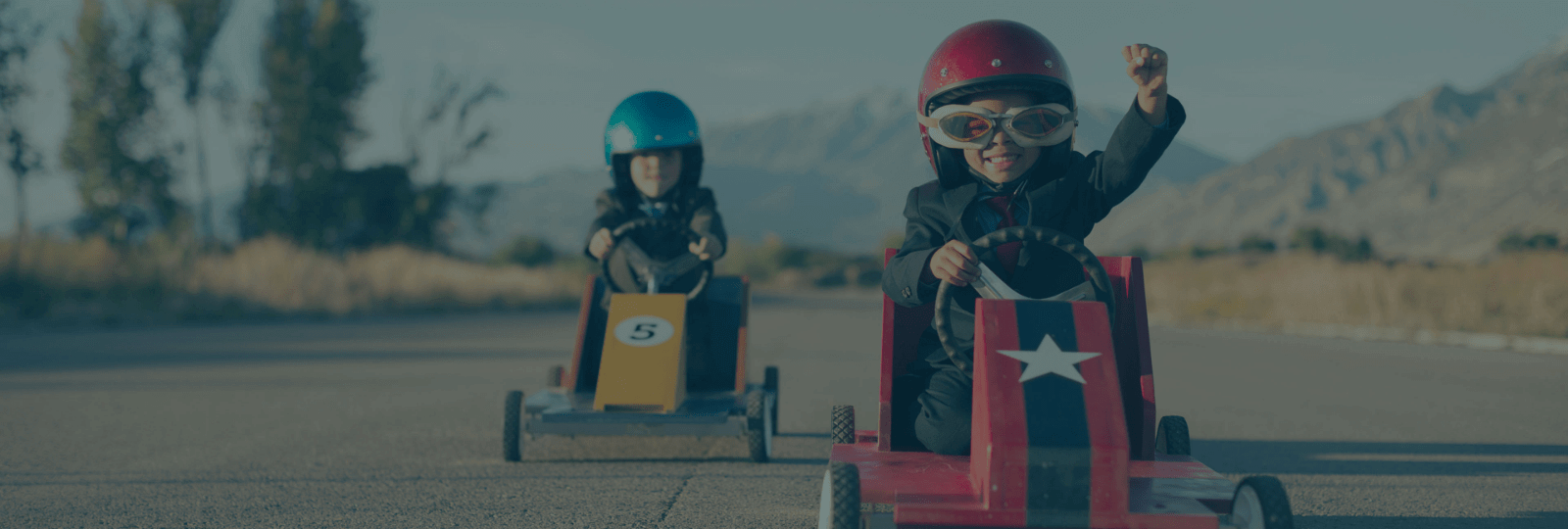 Children in go carts